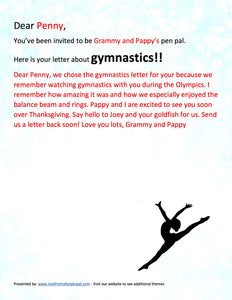 Gymnastics Pen Pal Letter