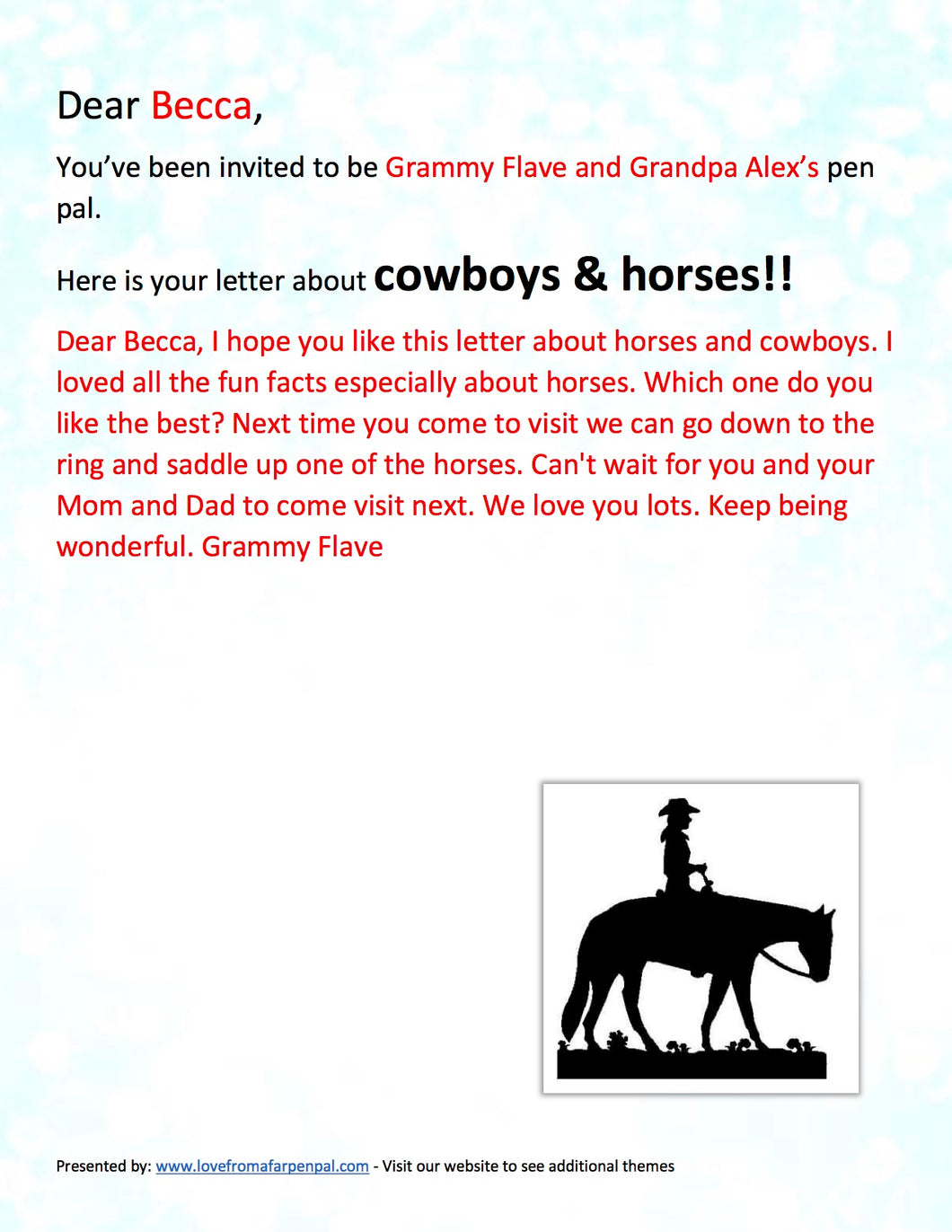 Cowboys Pen Pal Letter