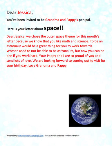 Outer Space Pen Pal Letter
