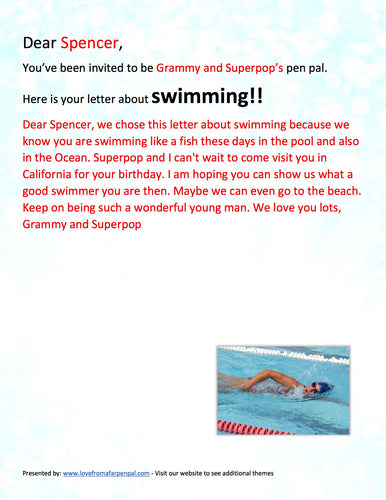 Swimming Pen Pal Letter