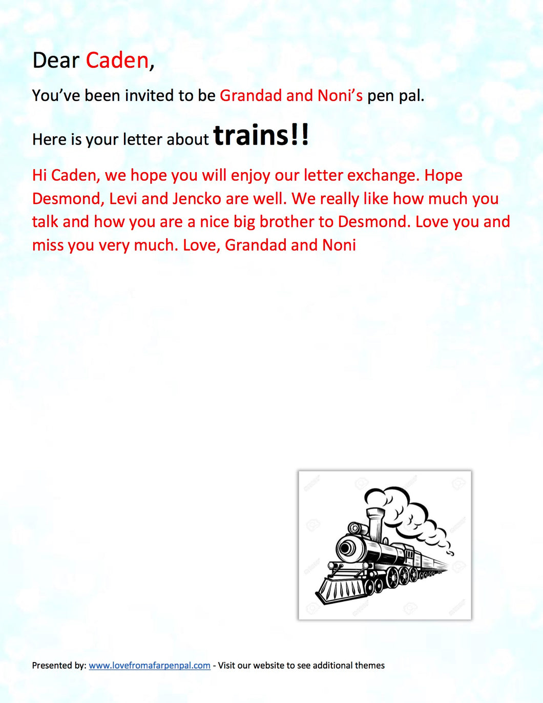 Train Pen Pal Letter
