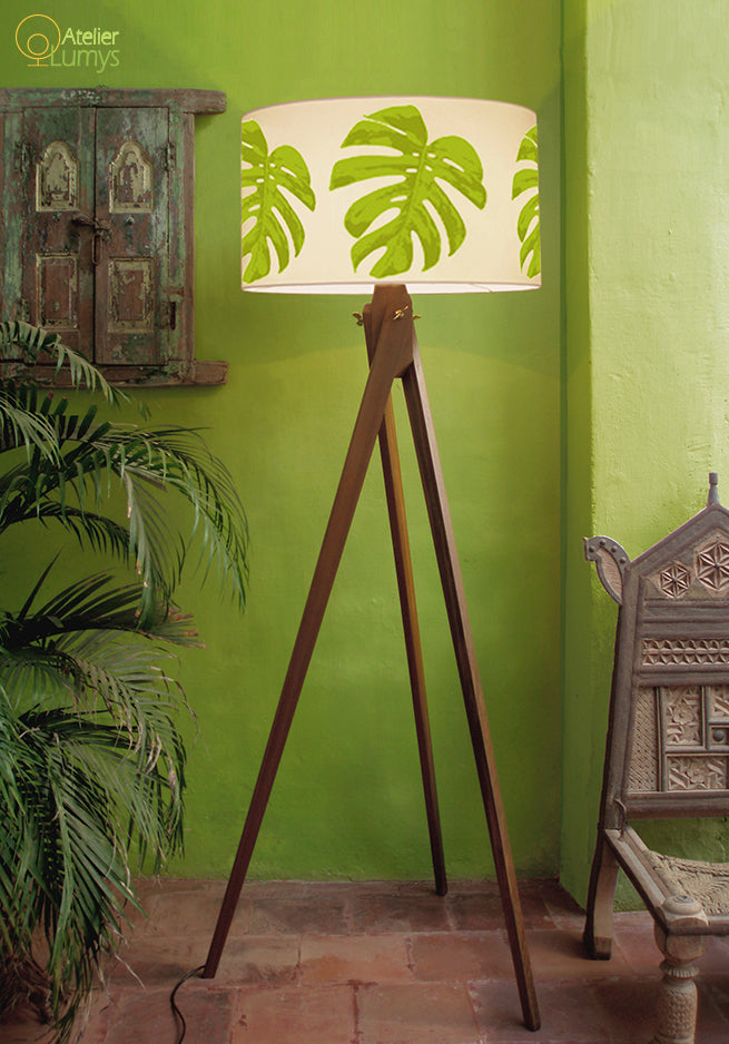 Botanical Leaf Shade & Tripod Floor Stand