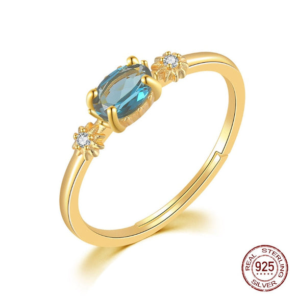 S925 Sterling Silver Color Jewelry Natural London Blue Topaz Ring - 14k Yellow Gold Plated