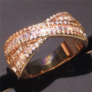 Handmade Cross Party Ring 5A Zircon Cz Rose Gold Filled 925 Silver Engagement Wedding Band Rings for Women Jewelry - I Love Giveaways