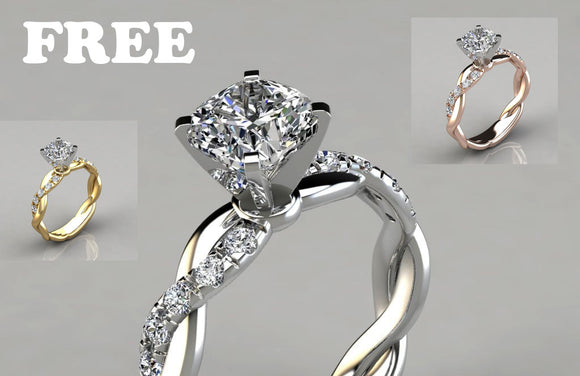 FREE Ring - Women's Ring Cubic Zirconia Solitaire Platinum Plated Elegant Engagement Rings Cubic Diamonds for Women Girls