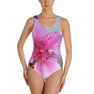 One-Piece Swimsuit - Italian Style - Peach Flower. Size: XS-S-M-L-XL-2XL-3XL - I Love Giveaways