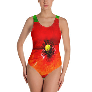 One-Piece Swimsuit - Italian Style - Red Poppy. Size: XS-S-M-L-XL-2XL-3XL - I Love Giveaways