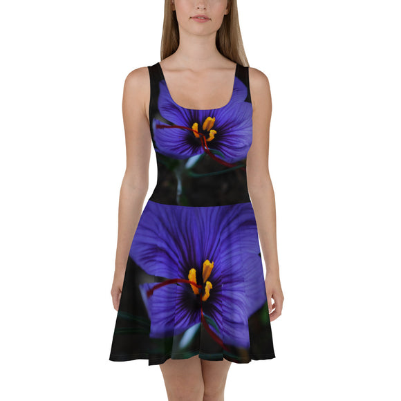 Skater Dress - Italian Style - Saffron Flower. Size: XS-S-M-L-XL-2XL-3XL - I Love Giveaways