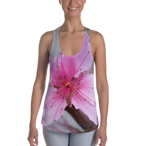 Racerback Tank Top - Italian Style - Peach Flower. Size: XS-S-M-L-XL-2XL - I Love Giveaways