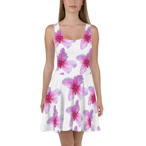 Skater Dress - Italian Style - Peach Flowers. Size: XS-S-M-L-XL-2XL-3XL - I Love Giveaways