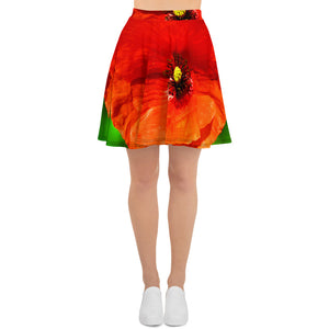 Skater Skirt - Italian Style - Red Poppy. Size: XS-S-M-L-XL-2XL-3XL - I Love Giveaways