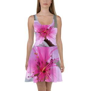 Skater Dress - Italian Style - Peach Flower. Size: XS-S-M-L-XL-2XL-3XL - I Love Giveaways
