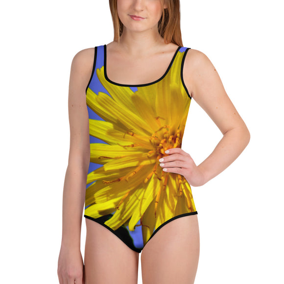 Youth Swimsuit - Italian Style - Dandelion Flower. Size: 8-10-12-14-16-18-20 - I Love Giveaways