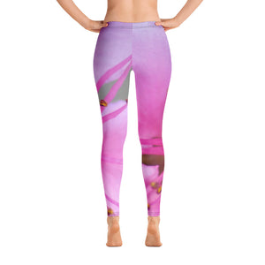 Leggings - Italian Style - Peach Flower. Size: XS-S-M-L-XL - I Love Giveaways