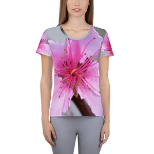 Women's Athletic T-shirt - Italian Style - Peach Flower. Size: XS-S-M-L-XL-2XL-3XL - I Love Giveaways