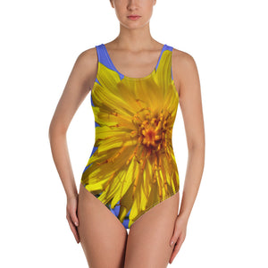 One-Piece Swimsuit - Italian Style - Dandelion Flower. Size: XS-S-M-L-XL-2XL-3XL - I Love Giveaways