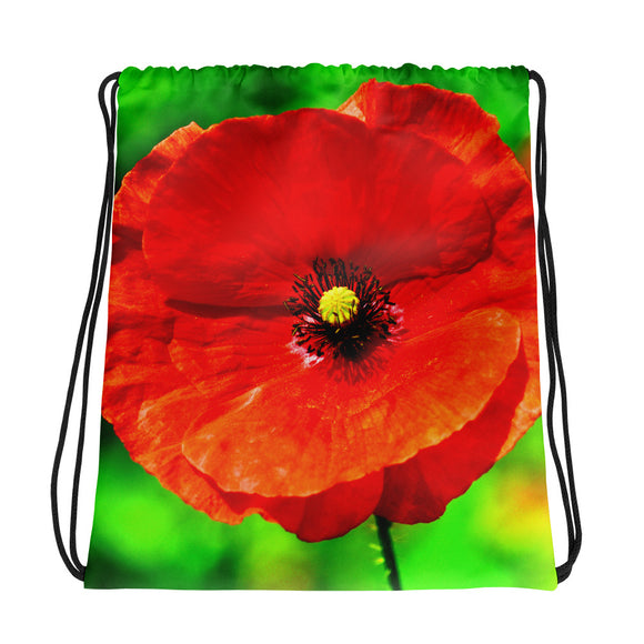 Drawstring Bag - Italian Style - Red Poppy - I Love Giveaways