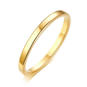 2mm Simple Ring Gold Rose Gold Silver Color Couple Wedding Ring