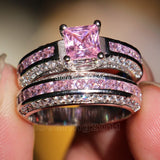 Princess cut Pink stone 5A Zircon stone 10KT White Gold Filled engagement Wedding Band Ring Set Sz 5-11 Gift - I Love Giveaways