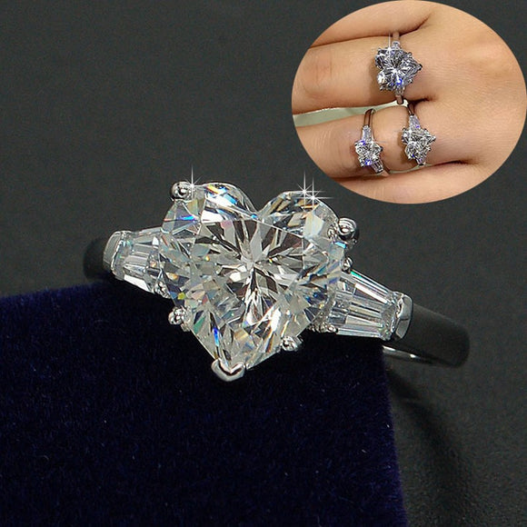 Luxury Jewelry Women Engagement ring Heart cut 3ct 5A Zircon stone 925 Sterling silver Wedding Band Ring for women - I Love Giveaways