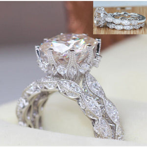 Brand Design Vintage ring Round cut 3ct 5A Zircon Cz 925 Sterling silver Engagement Wedding Band Ring for women - I Love Giveaways
