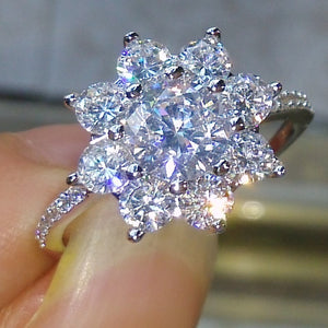 Flower Style 10KT White Gold Filled 5A Zircon stone Wedding Ring Size 5-9 - I Love Giveaways