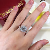 Women Fashion Jewelry ring 2ct AAAAA zircon cz 925 Sterling silver Cross Engagement Wedding Band Ring for women - I Love Giveaways
