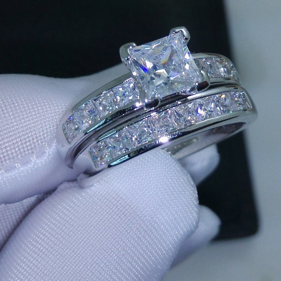 Princess Cut AAA CZ Simulated stones 10KT White Gold Filled Wedding Women Ring Set Gift Size 5-11 - I Love Giveaways