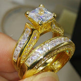 Jewelry AAA Cubic Zirconia 925 Sterling Silver & Yellow Gold Wedding Bridal Women Ring Gift Size 5-11 - I Love Giveaways