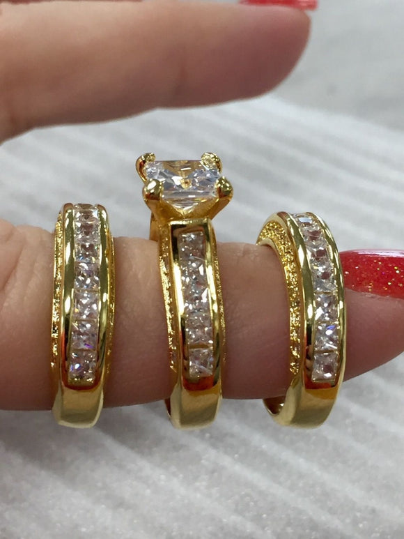 Fashion Jewelry Princess cut 20ct AAAAA zircon cz wedding band ring Set for women Yellow Gold Filled Engagement Ring - I Love Giveaways