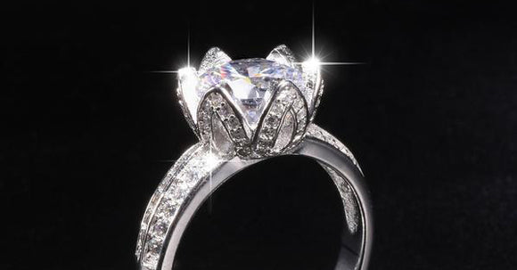 Real Solid 100% 925 Silver Lotus flower Rings Wedding Jewelry for Women 2ct Simulated Diamond Engagement Ring - I Love Giveaways