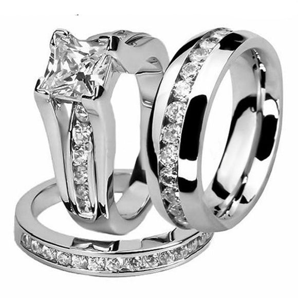 His and Hers Women Fashion Jewelry Princess Cut White Gold&Stainless Steel 5A White CZ Zirconia Wedding Band Men Couple Ring Set - I Love Giveaways