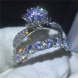 Flower Jewelry 925 Sterling silver ring set Full AAAAA Zircon Cz stone Engagement wedding band rings for women Gift - I Love Giveaways