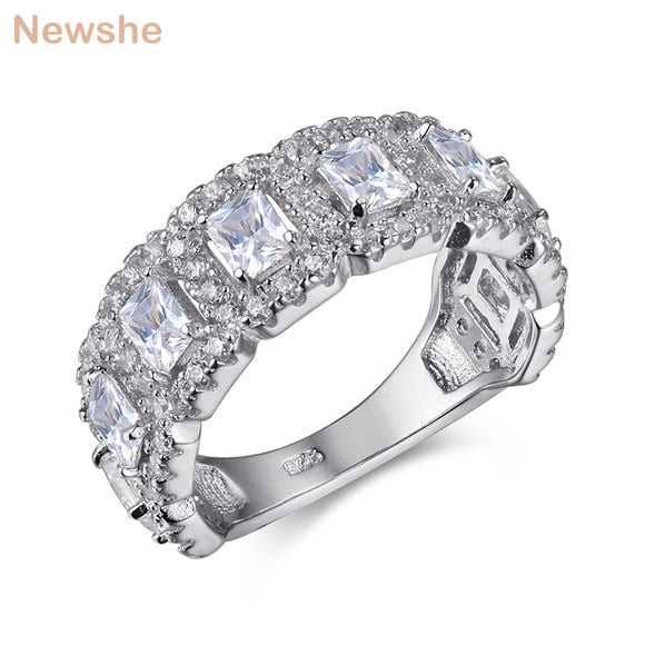 Solid 925 Sterling Silver Wedding Ring Engagement Band 2 Ct AAA CZ Eternity Classic Jewelry For Women - I Love Giveaways