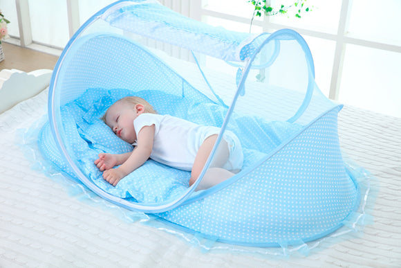 Baby Bedding Crib Netting Folding Baby Mosquito Nets Bed Mattress Pillow Three-piece Suit For 0-3 Years Old Children - I Love Giveaways