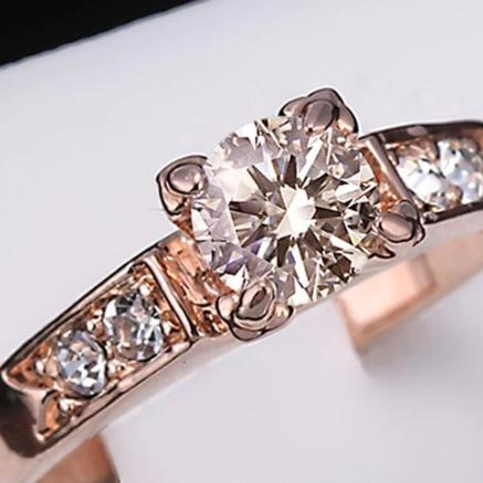 6 Items Classical Cubic Zirconia Forever Wedding Rings for Women Rose Gold Color Solitaire Rhinestones Lovers Ring Jewelry - I Love Giveaways