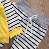 Newborn Baby Boys Girls Romper Hooded Sweatshirt Pants Striped Long Sleeve hoodie Infant kids Fall clothes - I Love Giveaways