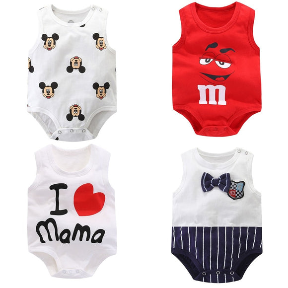 Baby rompers Summer sleeveless newborn baby boys clothes Cotton Fashion printing baby girls clothes for 0-24M kids baby clothes - I Love Giveaways