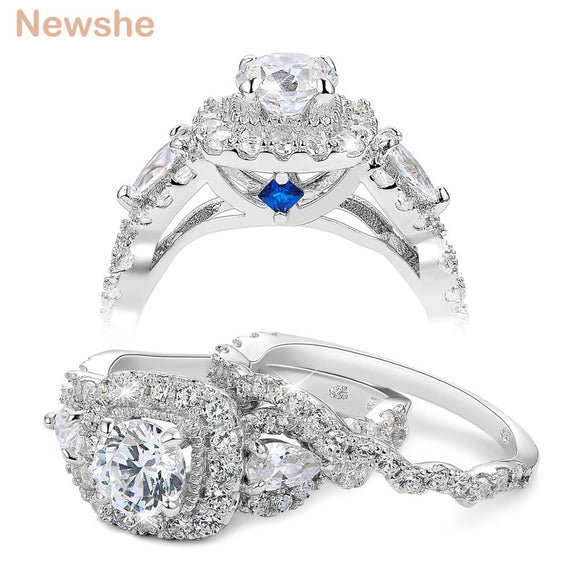 2 Pcs Halo 925 Sterling Silver Wedding Rings For Women 1.5 Ct Round pear Cut AAA CZ Classic Jewelry Engagement Ring Set - I Love Giveaways
