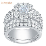 Wedding Rings For Women 4 Carats Cross Cut AAA Zirconia Classic Jewelry 925 Sterling Silver Engagement Ring Set - I Love Giveaways
