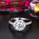 Wedding Engagement Ring Flower Solid 925 Sterling Silver Promise Wedding Jewelry - I Love Giveaways
