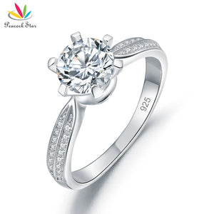 Engagement Ring Solid Crown Shape 925 Sterling Silver Promise Wedding Jewelry - I Love Giveaways