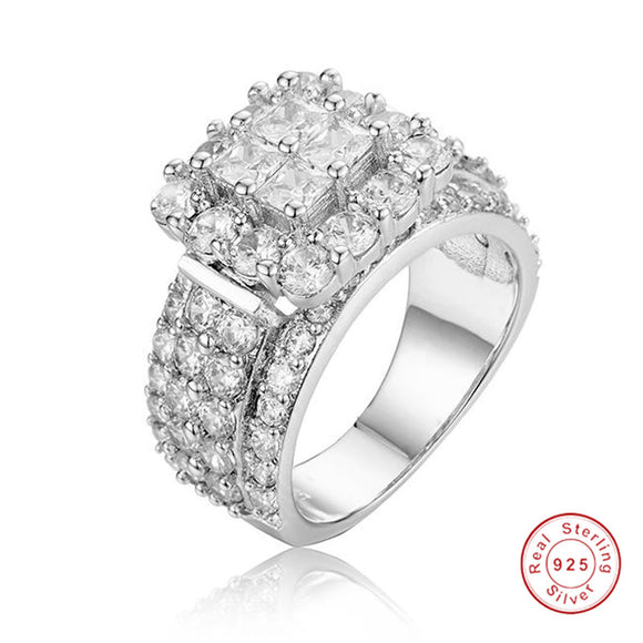 Ladys 925 Sterling silver ring Luxury pave 4pcs Princess-cut SONA Diamond Wedding jewelry for Women Simulated Platinum Girl gift - I Love Giveaways