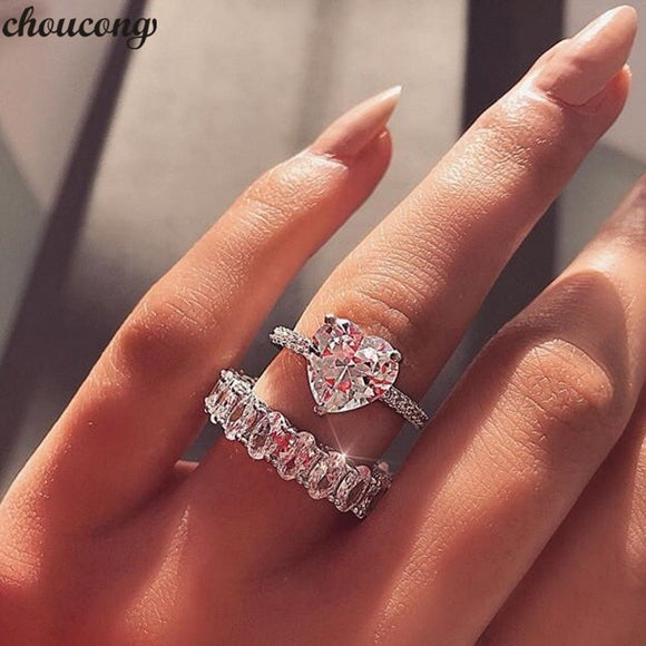 Fashion Heart Promise Ring Set 5A Zircon Cz 925 Sterling Silver Engagement Wedding Band Rings for women Bridal Jewelry - I Love Giveaways