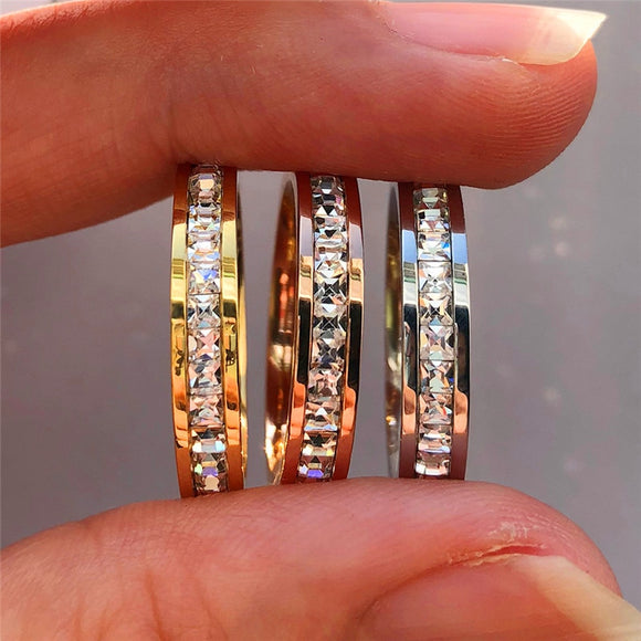 Female Crystal CZ Stone Ring Vintage Stainless Steel Women Wedding Rings Fashion Promise Yellow Gold Engagement Ring - I Love Giveaways