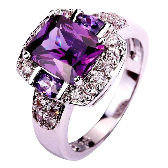 Fashion Charming Nice Women Party Jewelry Purple & White CZ Silver 925 Ring Size 6 7 8 9 10 11 12 13 - I Love Giveaways