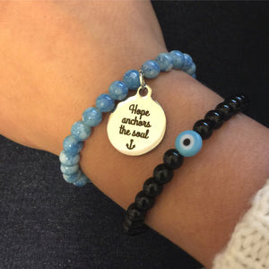 Hope Anchors the Soul Charm -Evil Eye Bead Bracelet Set