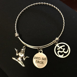Yoga- Om-Zen- Stainless Steel Bangle