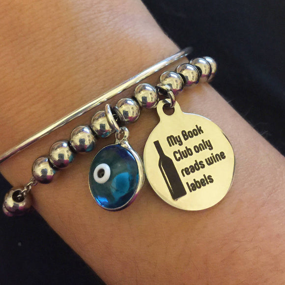 Wine lovers my Book Club only reads wine labels evil eye charm bracelet