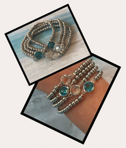 Rocks Collection CZ Blue Turquoise Stainless Steel Bead bracelet 4mm hypoallergenic non-taranish